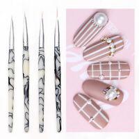 4 Pcs Liner Drawing Brush Painting Nail Liner Acrylic Pen Marble Hand UV Gel Pen