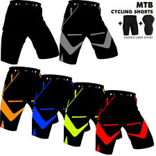 Mens Cycling MTB Shorts Off Road Cycle Bicycle CoolMax Padded Liner Shorts NEW