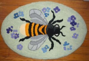 Bumble Bee and Flowers Handmade Wool Hooked Rug 18 x 25 Mint Green Background