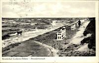 Nordseebad Cuxhaven Duhnen alte Postkarte 1949 gelaufen Strand Promenade Dünen