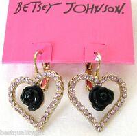NEW BETSEY JOHNSON PINK CRYSTAL HEART+BLACK ROSE FLOWER+GOLD LEVERBACK EARRINGS
