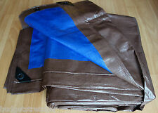 1 x  HEAVY DUTY TARP TARPAULIN WATERPROOF GROUND SHEET 12 X 16 BROWN/BLUE TARPS
