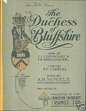 Duchess of Bluffshire 1909 Princeton University Triangle Club Songbook Carroll