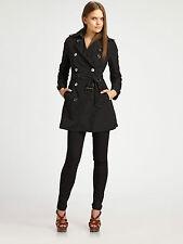 Burberry Brit Black Buckingham Poplin Trenchcoat Size 4 Petites $695