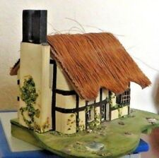 Vtg. Hand-Made Wooden Music / Trinket Box Real Straw Roof Cottage by P. Ralph