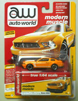 2012 Ford Mustang BOSS 302 Yellow Blaze AUTO WORLD DIE-CAST 1:64 CAR w BOX