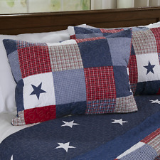 Americana Quilt Set Full Queen Size Bedding Stars Red White Blue 3 Piece