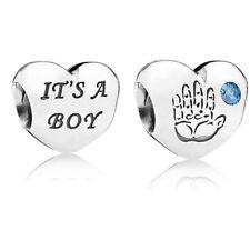 New Genuine Pandora it's a Baby Boy Heart Hand Love Bracelet Charm 791281CZB