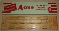 Vintage Acme wooden cribbage board boxed