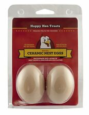 Happy Hen Ceramic Nest Eggs 2 count | Training Tool for Layer Chickens | Brown