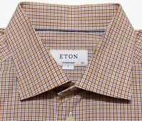 ETON OF SWEDEN Contemporary Long Sleeve Dress Shirt Orange Plaid 16.5 36 Large L