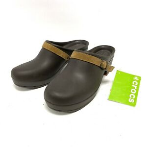 Crocs Sarah Mules Clog Expresso Leather Strap Buckle Heel Brown Women's Size 10