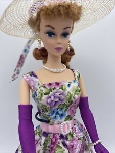 OOAK Vintage Reproduction Ponytail Barbie Strawberry Blonde Floral Busy Morning