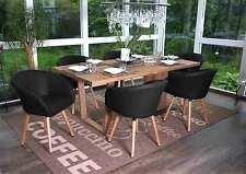 6x chaise de salle à manger Malmö T633 fauteuil, design rétro ~ similicuir, noir