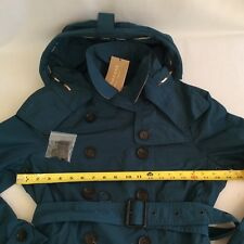 NWT Burberry Brit Cropped Trench Coat with Detachable Hood Green Size 10 , $750