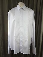 """Marks & Spencer Cotton White Evening Dress Waffle Bib Shirt 16"""" Extra Long C42"""""""