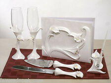 calla lily wedding set Guest Book Pen Toasting Glasses Cake Knife and Server