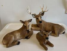 Vintage Homco 1984 Deer Buck 1985 Doe Fawn Set Resin Figurine Home Interiors