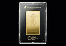 100 Gramm Feingold HEIMERLE & MEULE Gold Barren 100g Goldbarren NEU