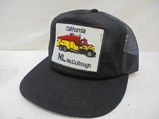 Vintage NL McCullough California Black Trucker Patch Mesh Cap Snapback Made USA