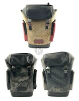 Coach Mens Large Signature Coated Canvas Leather Ringer Backpack Bag