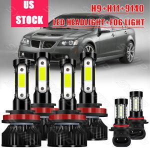 For Pontiac G6 2008-2009 6x H9 H11 9040 LED Combo Headlight Fog Light Lamp Bulbs
