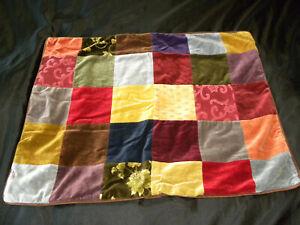 Pottery Barn Clifton Standard Pillow Sham Pair Patchwork Velvet Cotton Floral