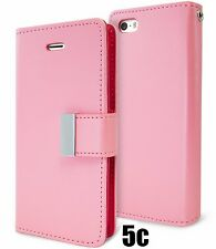 for iPhone 5C - LIGHT PINK Leather Case Magnetic Multi Cards Wallet Pouch Cover