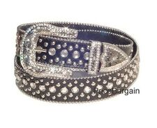 US Seller Western Rhinestone Bling Crystal Black Leather Snap on Buckle Belt M