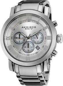 Akribos XXIV AK622SS Chronograph Date GMT Roman Numerals Silvertone Mens Watch