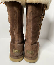 UGG Upside Women's Brown Suede Sheepskin Lined Lace Up Tall Boots Size 9