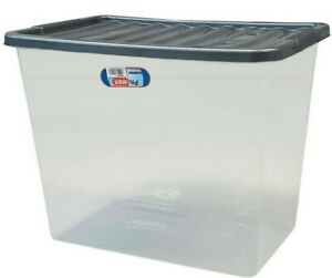 Extra Large 80L Quality Plastic Storage Box Strong Durable Clear Box Silver Lid