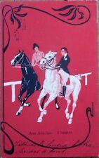 Art Nouveau 1904 Horse Postcard: Man & Woman on Horseback, Color Litho
