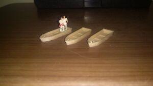 Ho 1/87 Scale  Row Boat Lot 3 pcs
