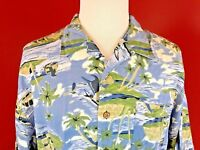 Original Island Sport Rayon Hawaiian Aloha shirt mens Large palm trees islands
