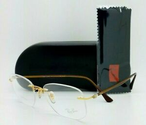 NEW Rayban Rx Eyeglasses Frame RX8757 1194 51mm Gold Brown AUTHENTIC Rimless