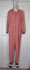 Nick & Nora Sock Monkey Red White Stripe One Piece Footed Pajamas M Women