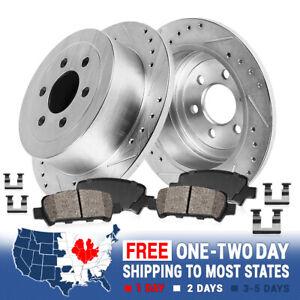For Hyundai Entourage Kia Sedona Rear Drill Slot Brake Rotors And Ceramic Pads