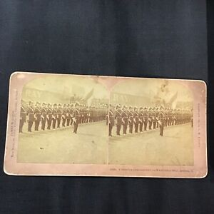 1895 Columbia Commandery on Exhibition Military Drill Stereoview Card