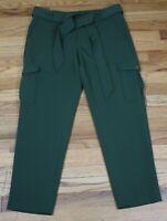 WOMEN'S GREEN CARGO POCKET CROPPED DRESS PANTS - LOFT - SIZE 8 - WITH BELT
