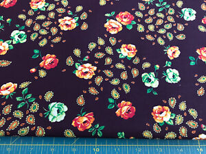 Peach Green Flowers on Brown Paisley 100% cotton fabric sold by the yard #164