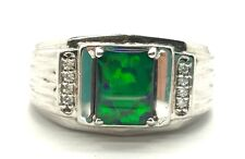 Men's Sterling Silver Rectangle Blue Green Opal CZ Groove Ridged Band Ring 10.25