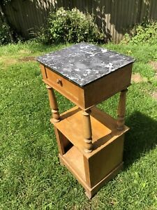 Victorian Marble Top Bedside Table Antique Pine
