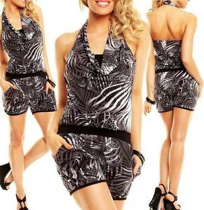 SeXy Miss Damen Shorty Clubbing Hotpant Overall Neckholder 34/36/38 bunt Grau
