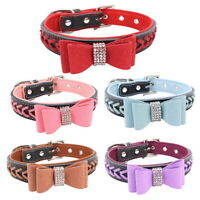1Pcs Adjustable Pet Dog Colorful Bowknot Collar PU Breathable Aging-Resistant