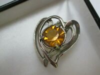Vintage Scottish Celtic Entwined Silver Hearts Citrine Glass Pendant Brooch Pin