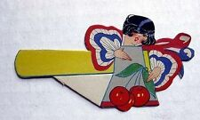 1930s Bridge Tally Place Card Patriotic Girl w Cherries
