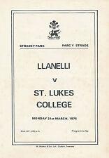 LLANELLI v ST LUKES COLLEGE 31 Mar 1975 RUGBY PROGRAMME