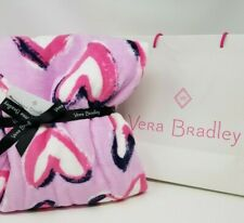 Vera Bradley ❤️ Hearts Iced Pink Throw Blanket 50 x 80 with Navy Blue White NWT