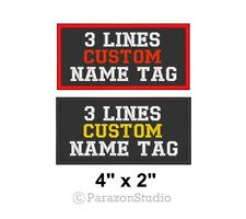 "Custom Embroidered Name Tag Sew on Patch Rocker Biker Badge 3 Lines 4"" x 2"" (B)"